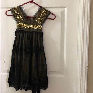Black and Gold Lace Luna Luna Dress Size 2